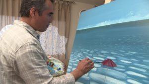 Shafiq working on painting